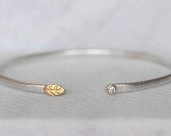 Diamond Leaf Cuff- Sterling and 18k Gold Diamond - Leaf and Bud Cuff