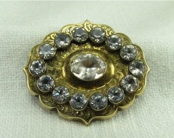 Circa 1820.  14kt Gold Georgian Paste Brooch
