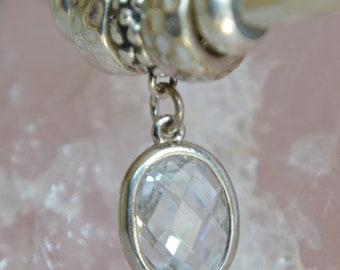 Sterling Silver White Cubic Zirconia European Charm Dangle Charm - Fits all European Charm Bracelets