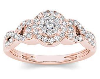 10Kt Rose Gold 0.40 Ct Diamond Halo Engagement Ring