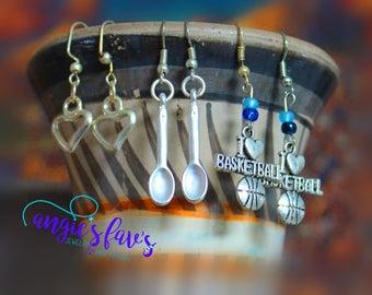 Dangle Earrings, Silver, Basketball, Spoon, Heart