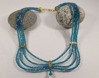 Multistrand Necklace Statement Necklaces For Women Teal Blue Layered Beaded Necklace Chunky Necklaces Boho Jewelry Gift for her Handmade