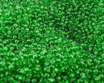 TOHO 11/0 Round Seed Beads - Transparent Grass Green - 20 gram Bag - Spring Grass Easter St Patricks Irish - Color Code 7B - Jar 75