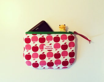 Cell Phone case  many many mOre padded zipper Pouch with Apple print