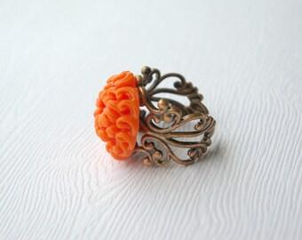 Grande Orange Chrysanthemum Ring