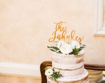"""The Last Name Wedding Cake Topper 6"""" inches 