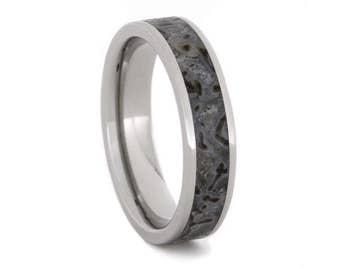 Handmade Dinosaur Bone Wedding Band, Titanium Ring Inlaid With Fossilized Dino Bone, Historical Jewelry For Men or Women
