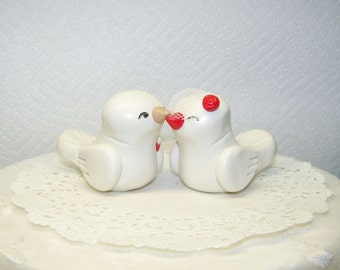 Personalized Lovebird Wedding Cake Topper Wedding/Home Decor - Fully Customizable - Shown in White Ivory and Red