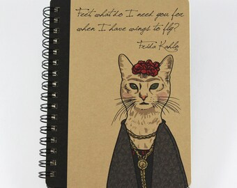 Cat Notebook Frida Kahlo Quote, Spiral Bound Small Notebook