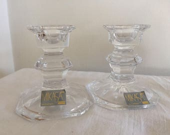 A pair of vintage Mikasa Slovenian crystal candle holders