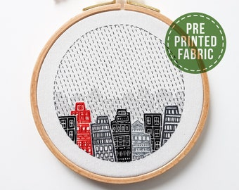 Amsterdam pre-printed fabric | Fabric + tutorial | Level 2 | Modern Hand embroidery | City pattern | Craft gift | DIY gift | Kushimari