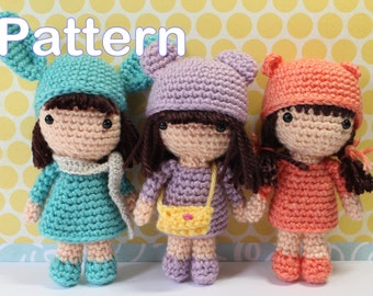 Crochet Amigurumi Cute Mini Girls Dolls PDF Pattern Stuffed Toy Gift Kawaii