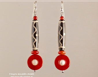 Earrings decorated with bone - carnelian - mother of Pearl - silver-solid handmade unique jewelry - jewelry-mb-creations
