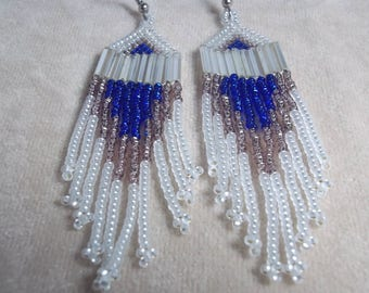 Carpal Tunnel Going Out of Business Sale! Cold Heart Seed Bead Earrings, Frosted White, Sapphire, Amethyst, Boho Earrings, Dramatic Earrings