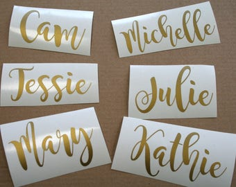 Custom name decal for Glass/ DIY Decal/ Personalized Custom Decal/ Bridal Party Decals/ Wine Champagne glasses decal/ Bachelorette party