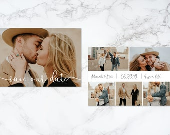 Printable Double Sided Modern Script Text Overlay Photo Card Save the Date