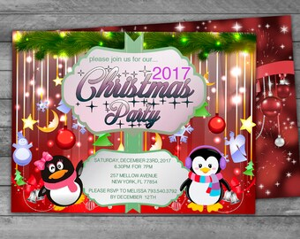 Kids Christmas Party Invitation - Instantly Downloadable and Editable File - Personalize and Printtat home with Adobe Reader!