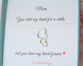 Mother of the Bride, Mothers Day Gift, Jewelry for MOM, Mother of the Groom, heart necklace, connecting hearts, Christmas gift for mom