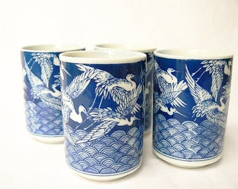 """Crowned Cranes Themed Tea / Sake Rice Wine Cups - Set of 4 Blue and White Ceramic Teacups - Flying Birds Motif Small Tumblers  3 1/4""""x2 1/4"""""""