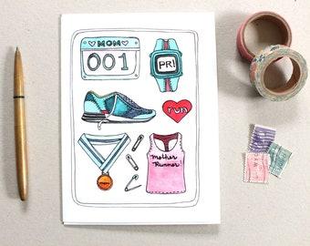 Mother's Day Card - Card for Runner Mom - Mom Runner Card - Running Mom Card - Marathon Card - Blank Card for Mom - Mom Running Card