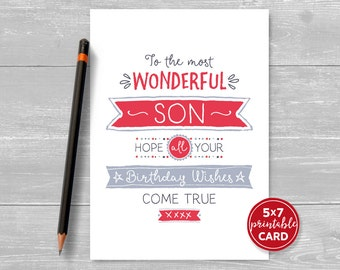 """Printable Birthday Card For Son - To The Most Wonderful Son, Hope Your Birthday Wishes Come True - 5""""x7""""- Plus Printable Envelope Template"""