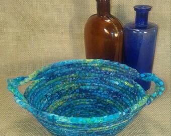 Batik Fabric Coil Basket, Round Basket with Handles. Sisal Hemp Rope Coiled Bowl, Fiber Art, Boho, Medium Rope Bowl