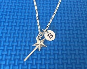 magic wand necklace ,Jewelry, Silver Jewelry, magic wand jewelry, little girl magic wand Chain CP27