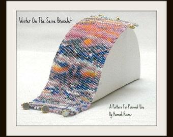 Beading Pattern Monet Winter Beaded Bracelet peyote stitch TUTORIAL INSTRUCTIONS