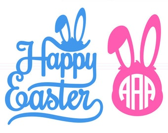 Happy Easter SVG Monogram Frames instant download cut file - svg, studio3, dxf, eps - Bunny Head Rabbit Cutting Files for Cricut, Silhouette