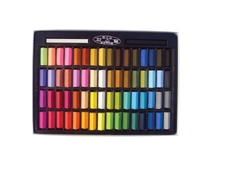 Non Toxic Soft Pastel 64 Count Assorted Colors Square Chalk, Vivid and Brilliant Color Pastels For Easy Blending And Gradation Of Artwork