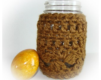 Rattan Ball Mason Jar Cozy Pint size, canning jar sleeve, Crochet bamboo ball jar cozy, jar sleeve, drinking jar cover,