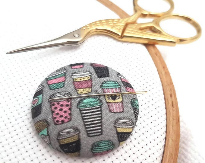 Featured listing image: Coffee Lover-Needle Minder-Reversible Needleminder-Coffee Needle minde-Magnetic-Cross Stitch-Embroidery-Quilting-Sewing-Needlepoint-DIY Tool