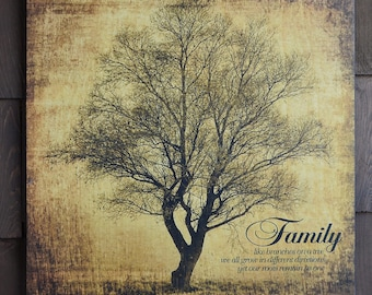Rustic Family Tree Artwork LIke Branches on a Tree -  Home decor printed on wood panel - Can be Personalized for FREE