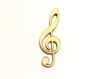 Wood treble clef shape lasercut shape unfinished