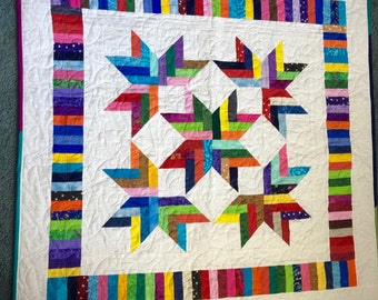 """38"""" square Ribbon Star Baby Quilt"""