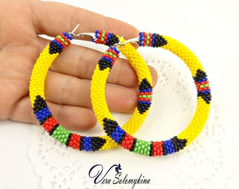 African Inspired Earrings, Beaded Hoop Earrings, Zulu Earrings, Beadwork jewelry, Seed bead earrings,  Big ethnic earrings, Native Beadwork