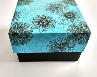 Set of 10 blue boxes, Jewelery boxes, boxes with a lid, boxes with print, Boxes with flowers, packing box, gift box, gift box with lid
