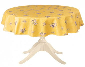42 to 63 inches Round Provencal Coated Table Cloth Lavender All Over Yellow- or custom made your size - Umbrella hole & Napkins available