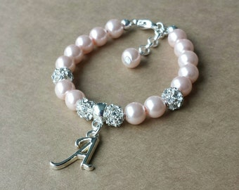 Baptism Baby bracelet, baby pearl Bracelet, personalized bracelet, flower girl bracelet baby shower gift christening bracelet baby girl gift