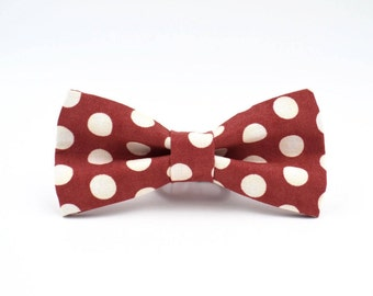 Bowtie, Mens Brick Red Polka Dot Bowtie, Mens Bow Tie, Red Bow Tie, Bow Ties for Men