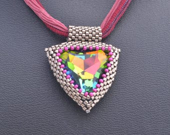 Sparkling Hand Beaded 23 MM Swarovski Vitrial Triangle with Hand Dyed Silk Ribbon Womens Birthday Gifts OOAK Gifts for Her