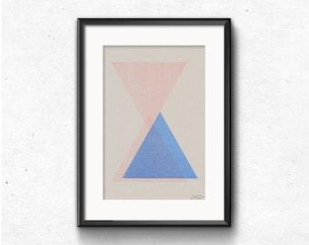 Abstract geometric print, A4 riso poster, midcentury modern artwork, triangle wall art, minimalist print, original illustration, home decor