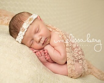 Peach Stretch Lace Wrap Newborn Photography Prop