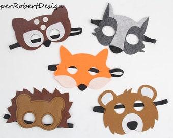 LOT DE 5 masques d'animaux, les enfants des Costumes d'animaux, ours, Animal décorations de fête, fête Woodlands, masque de cerf, renard, animaux, chat masque, loup