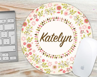 Mouse Pad, Mousepad, Mouse Pads, Desk Pad, Monogram Mouse Pad, Floral Mouse Pad Personalized 7050