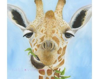 Giraffe Giclee Art print/ Wildlife acrylic painting