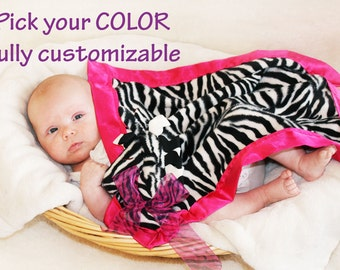 Zebra Security Blanket, Lovey Blanket, Satin, Baby Blanket, Stuffed Animal, Baby Toy - Customize Color - Monogramming Available