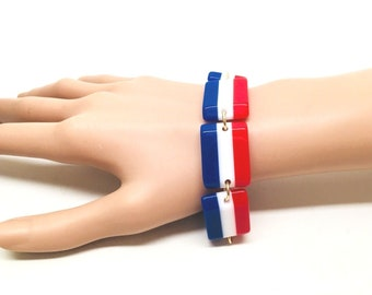Vintage Red White & Blue July 4th Celebration Laminated Bracelet Lucite Stripped Modernist  Bold Patriotic Runway Statement Mod