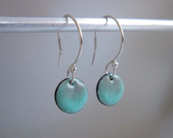 Petite Circle Enamel Earrings, Slate Gray and Robin's Egg Blue Ombre Kiln Fired Glass Enamel, Sterling Silver Hooks