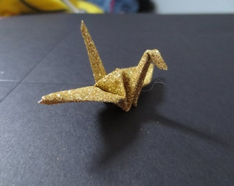 Large Sparkle Glitter Gold Origami Paper Cranes - 100